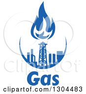 Clipart Of A Blue Natural Gas And Flame Design Over Text 3 Royalty Free Vector Illustration