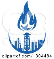 Clipart Of A Blue Natural Gas And Flame Design 2 Royalty Free Vector Illustration