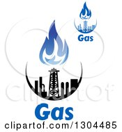 Clipart Of Black And Blue Natural Gas And Flame Designs With Text 2 Royalty Free Vector Illustration