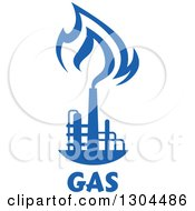 Clipart Of A Blue Natural Gas And Flame Design Over Text 2 Royalty Free Vector Illustration
