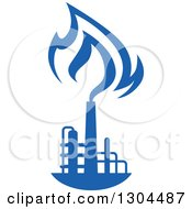 Clipart Of A Blue Natural Gas And Flame Design 3 Royalty Free Vector Illustration