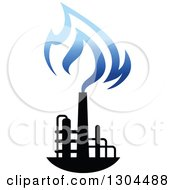 Clipart Of A Black And Blue Natural Gas And Flame Design 2 Royalty Free Vector Illustration