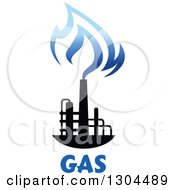 Clipart Of A Black And Blue Natural Gas And Flame Design Over Text Royalty Free Vector Illustration