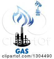Clipart Of Black And Blue Natural Gas And Flame Designs With Text Royalty Free Vector Illustration
