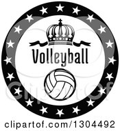 Clipart Of A Black And White Circle Of Stars Around A Crown Volleyball And Text Royalty Free Vector Illustration by Vector Tradition SM