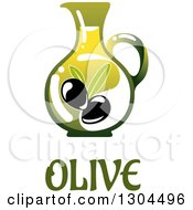 Clipart Of A Pitcher Of Olive Oil Over Text Royalty Free Vector Illustration