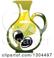 Clipart Of A Pitcher Of Olive Oil Royalty Free Vector Illustration