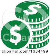 Clipart Of A Green Stack Of American Coins Royalty Free Vector Illustration by Vector Tradition SM