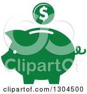 Clipart Of A Green Piggy Bank And Coin Icon Royalty Free Vector Illustration