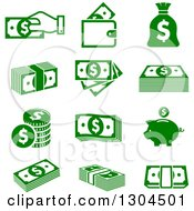 Clipart Of Green American Money Icons Royalty Free Vector Illustration by Vector Tradition SM