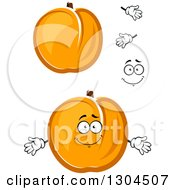 Clipart Of A Cartoon Face Hands And Apricots 2 Royalty Free Vector Illustration