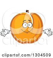 Clipart Of A Cartoon Apricot Character Welcoming Royalty Free Vector Illustration