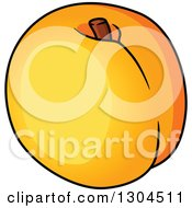 Clipart Of A Cartoon Apricot Fruit Royalty Free Vector Illustration