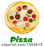 Clipart Of A Cartoon Supreme Pizza Over Text Royalty Free Vector Illustration