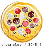 Clipart Of A Cartoon Supreme Pizza Royalty Free Vector Illustration