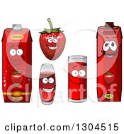 Clipart Of A Smiling Strawberry Character And Juice 3 Royalty Free Vector Illustration