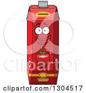Clipart Of A Smiling Strawberry Juice Carton Character 3 Royalty Free Vector Illustration