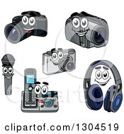 Clipart Of Cartoon Camera Handycam Microphone Landline Phone And Headphone Characters Royalty Free Vector Illustration