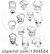 Clipart Of Black And White Male Chef Faces 4 Royalty Free Vector Illustration