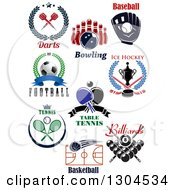 Darts Bowling Baseball Soccer Football Ice Hockey Ping Pong Tennis Basketball And Billiards Sports Designs With Text