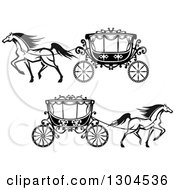 Clipart Of Black And White Prancing Horses Wedding Carriages Royalty Free Vector Illustration by Vector Tradition SM