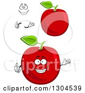 Clipart Of A Happy Face Hands And Red Apples Royalty Free Vector Illustration