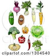 Clipart Of Cartoon Beet Kohlrabi Radish Carrot Cucumber Potato Lettuce Bell Pepper Broccoli Chili And Pumpkin Characters Royalty Free Vector Illustration