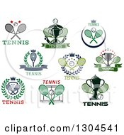 Clipart Of Tennis Racket And Ball Sports Designs With Text 2 Royalty Free Vector Illustration