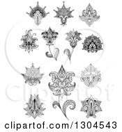 Clipart Of Black And White Henna And Lotus Flowers 9 Royalty Free Vector Illustration