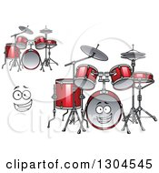 Clipart Of A Cartoon Face And Red Drum Sets Royalty Free Vector Illustration
