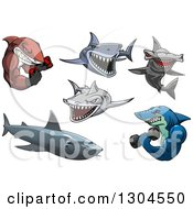 Clipart Of Cartoon Tough Sharks Royalty Free Vector Illustration