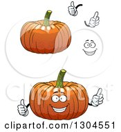 Clipart Of A Face Hands And Pumpkins Royalty Free Vector Illustration