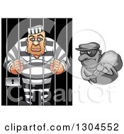 Poster, Art Print Of White Male Prisoner And Grayscale Robber