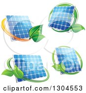 Clipart Of Shiny Blue Solar Panels With Green Leaves Royalty Free Vector Illustration