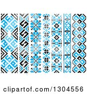 Blue Black And White Vertical Native American Styled Borders 3