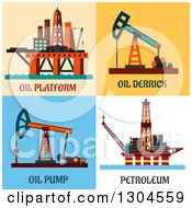 Clipart Of Flat Modern Oil Platform Derrick Pump And Petroleum Designs Royalty Free Vector Illustration