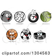 Clipart Of Cartoon Bowling Volleyball Billiards Tennis Basketball Soccer Balls And A Hockey Puck Royalty Free Vector Illustration