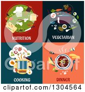 Clipart Of Flat Moder Nutrition Vegetarian Cooking And Dinner Designs Royalty Free Vector Illustration