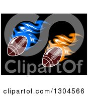 Blue And Orange Flaming American Footballs On Black