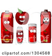 Clipart Of A Happy Red Apple Character And Juice Cartons And Cups 2 Royalty Free Vector Illustration