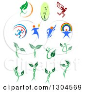 Clipart Of Leaf And Dna People Royalty Free Vector Illustration