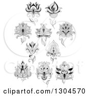 Clipart Of Black And White Henna And Lotus Flowers 8 Royalty Free Vector Illustration