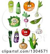 Clipart Of Cartoon Cabbage Zucchini Pumpkin Leek Cauliflower Radish Peas Garlic Tomato Asparagus Eggplant Onion And Corn Characters Royalty Free Vector Illustration