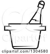 Clipart Of A Black And White Champagne Bottle In An Ice Bucket Royalty Free Vector Illustration