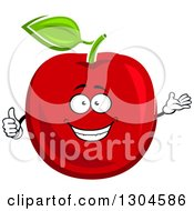 Clipart Of A Happy Red Apple Character Giving A Thumb Up And Presenting Royalty Free Vector Illustration