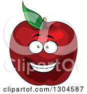 Clipart Of A Smiling Red Apple Character 2 Royalty Free Vector Illustration