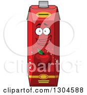 Clipart Of A Happy Red Apple Juice Carton Character Royalty Free Vector Illustration