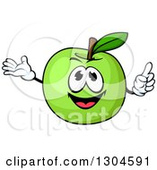 Clipart Of A Happy Green Apple Character Holding Up A Finger And Presenting Royalty Free Vector Illustration