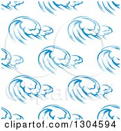 Clipart Of A Seamless Background Design Pattern Of Ocean Waves In Blue On White 2 Royalty Free Vector Illustration