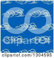 Clipart Of A Seamless Background Pattern Of White Waves Over Blue 2 Royalty Free Vector Illustration
